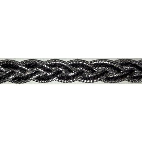 Ezüst-fekete színű díszítő szalag 10 mm 245 Ft/m (20m)