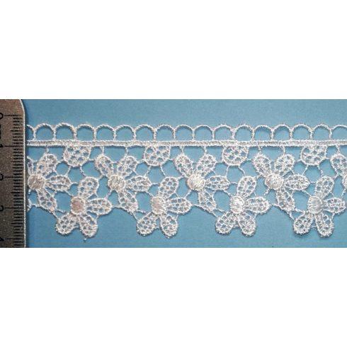 Légcsipke szél, dupla virágosor, fehér vagy ekrü, 35 mm, (Kód:408) 345 Ft/m 8,3