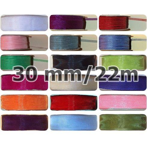 Organza szalag,  30 mm, több színben, 67 Ft/méter (22 méter)
