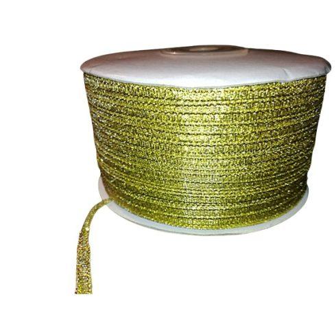 Lurex szalag 3 mm, arany, díszítő kötöző szalag.  25 Ft/méter (250 méteres)