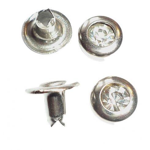 Strassz köves szegecs kerek, gépi.  Ø 10 mm, 40  Ft/db (100 pár/csomag)