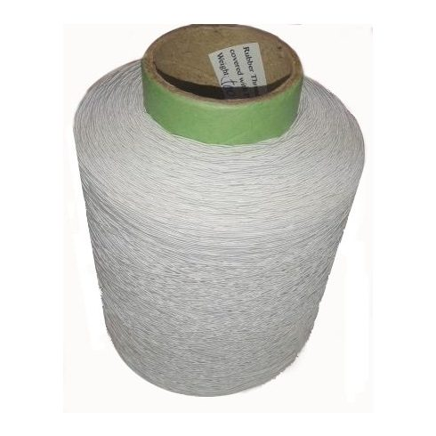 Gumicérna fehér Ø 0,6 mm, 500 gr/kúp ( ~ 2000 m) Rubber Thread#52 covered with Polyeser, ipari,  4400 Ft/500 gr/1kúp