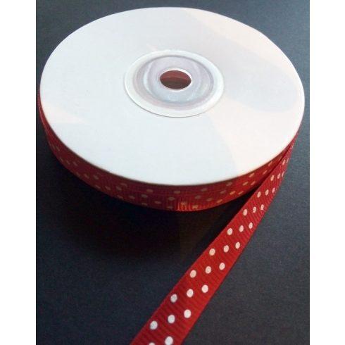 Textilszalag 10 mm piros alapon fehér pöttyös 95 Ft/m (20m)