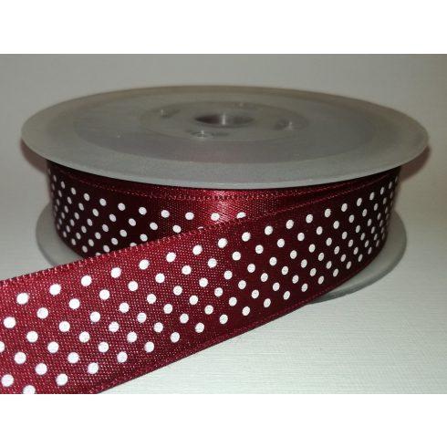 Textilszalag 20 mm bordó alapon fehér pöttyös 115 Ft/m (20m)
