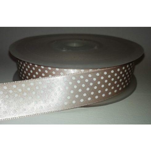 Textilszalag 20 mm drapp alapon fehér pöttyös 115 Ft/m (20m)