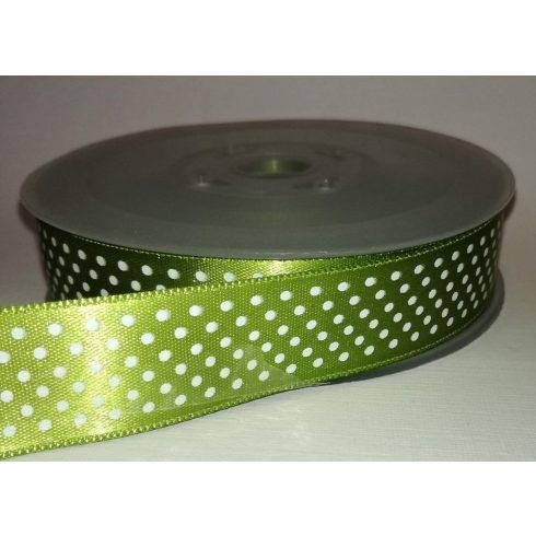 Textilszalag 20 mm neonzöld alapon fehér pöttyös 115 Ft/m (20m)